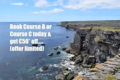 Cliffs at Inismor - €50 off course B or C - Colaiste O Direain Irish Summer School Gaeltacht - Aran Islands Galway Ireland