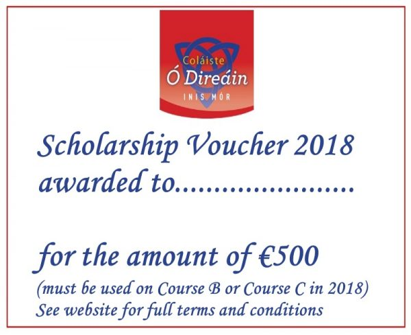 Scholarship Voucher 2018 in blue text - Colaiste O Direain Irish Summer School - Aran Islands Galway