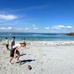 Students playing football at Colaiste O Direain Aran Islands Galway