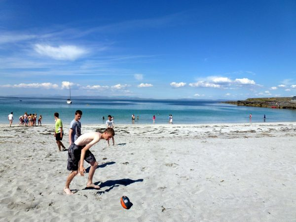 Students playing football at Colaiste O Direain Aran Islands Galway